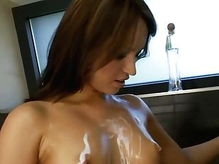 Hot And Horny Lezzie Joins Her Roomy In The Douche
