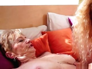 Filthy Blonde Grand-ma In Lesbo Pornography With Teenage Cutie