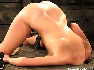 Girl-on-girl Bottom Squealing And Climaxing From Deep Strap Dildo Hookup
