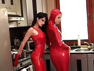 Behind The Scene Our Sapphic German Stunners Lovin' A Lovemaking In Hot Crimson Spandex Catsuits