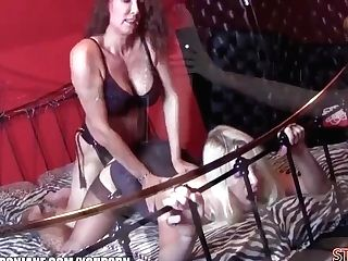 Mistress Strap Dildo Jane Fucks Horny Blonde Super-bitch With Amazing Big Tits Deep And Hard With Her Big Strap-on
