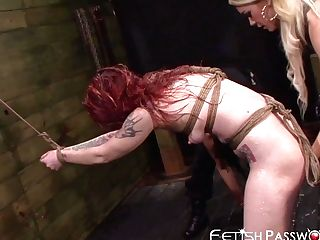 Ginger-haired Sub Sheena Rose Toyed With Harshly By Mean Honies